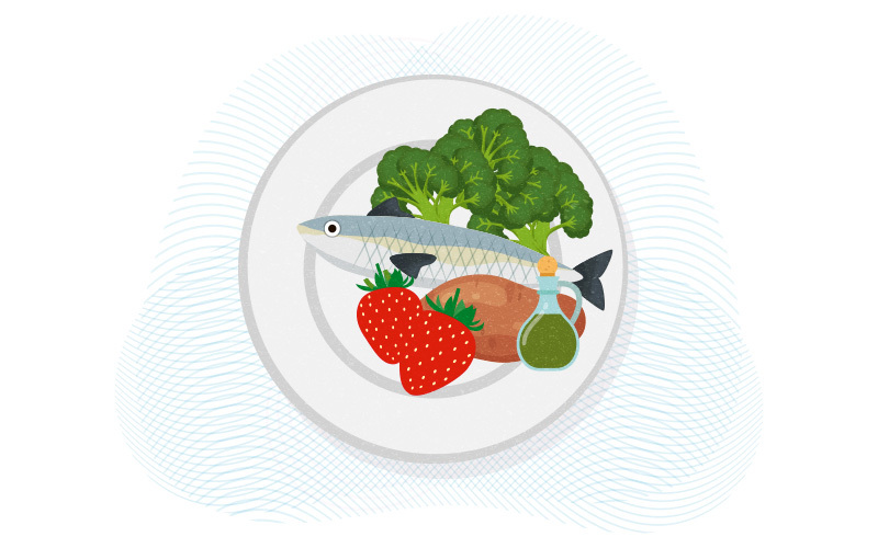 plate with low-carb foods (fish, vegetables)